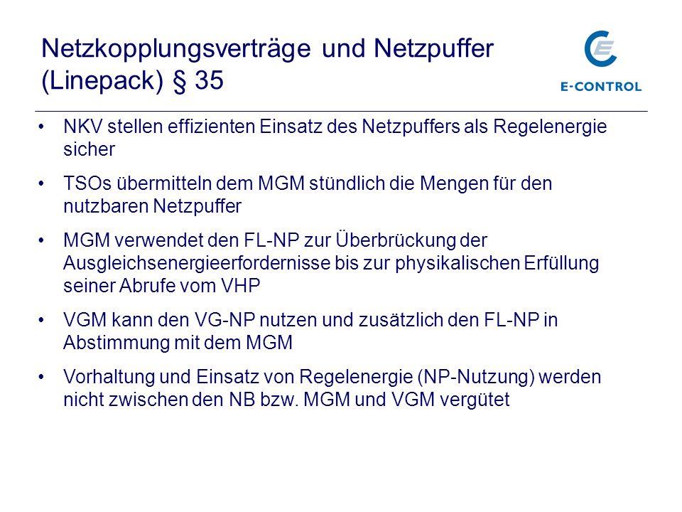 Netzkopplungsverträge und Netzpuffer (Linepack) § 35 NKV stellen effizienten Einsatz des Netzpuffers als Regelenergie sicher TSOs übermitteln dem MGM