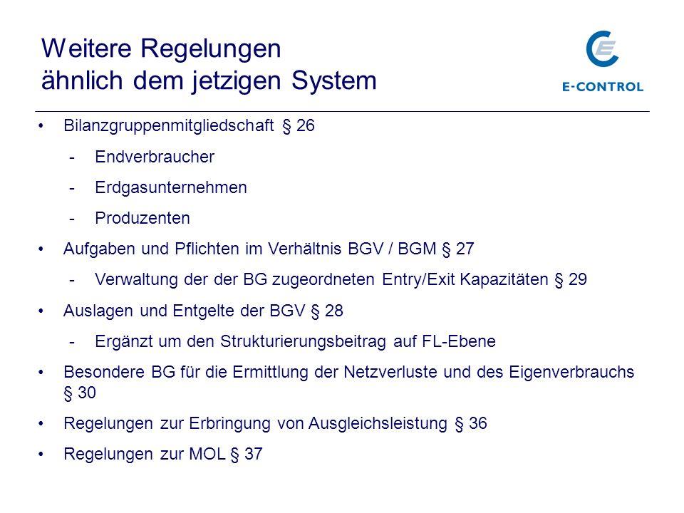 Weitere Regelungen ähnlich dem jetzigen System Bilanzgruppenmitgliedschaft § 26 -Endverbraucher -Erdgasunternehmen -Produzenten Aufgaben und Pflichten