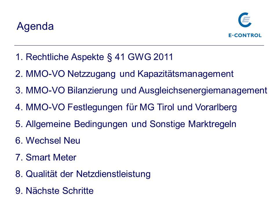 Agenda 1.Rechtliche Aspekte § 41 GWG 2011 2.MMO-VO Netzzugang und Kapazitätsmanagement 3.MMO-VO Bilanzierung und Ausgleichsenergiemanagement 4.MMO-VO