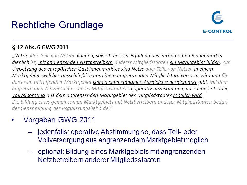 Vorgaben GWG 2011 –jedenfalls: operative Abstimmung so, dass Teil- oder Vollversorgung aus angrenzendem Marktgebiet möglich –optional: Bildung eines M