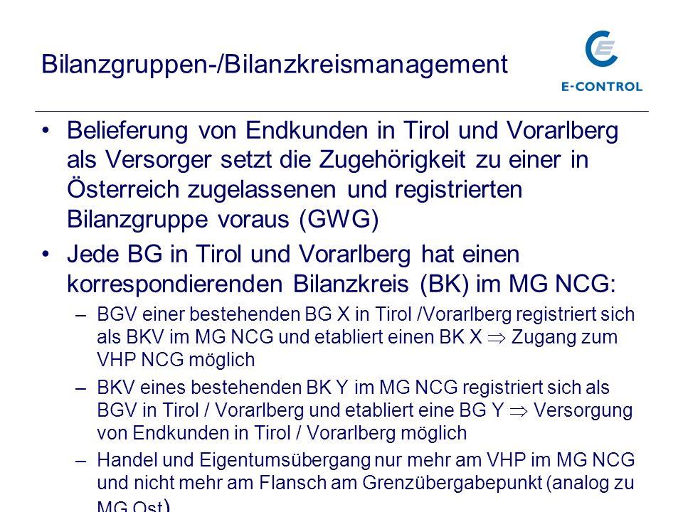 Bilanzgruppen-/Bilanzkreismanagement Belieferung von Endkunden in Tirol und Vorarlberg als Versorger setzt die Zugehörigkeit zu einer in Österreich zu