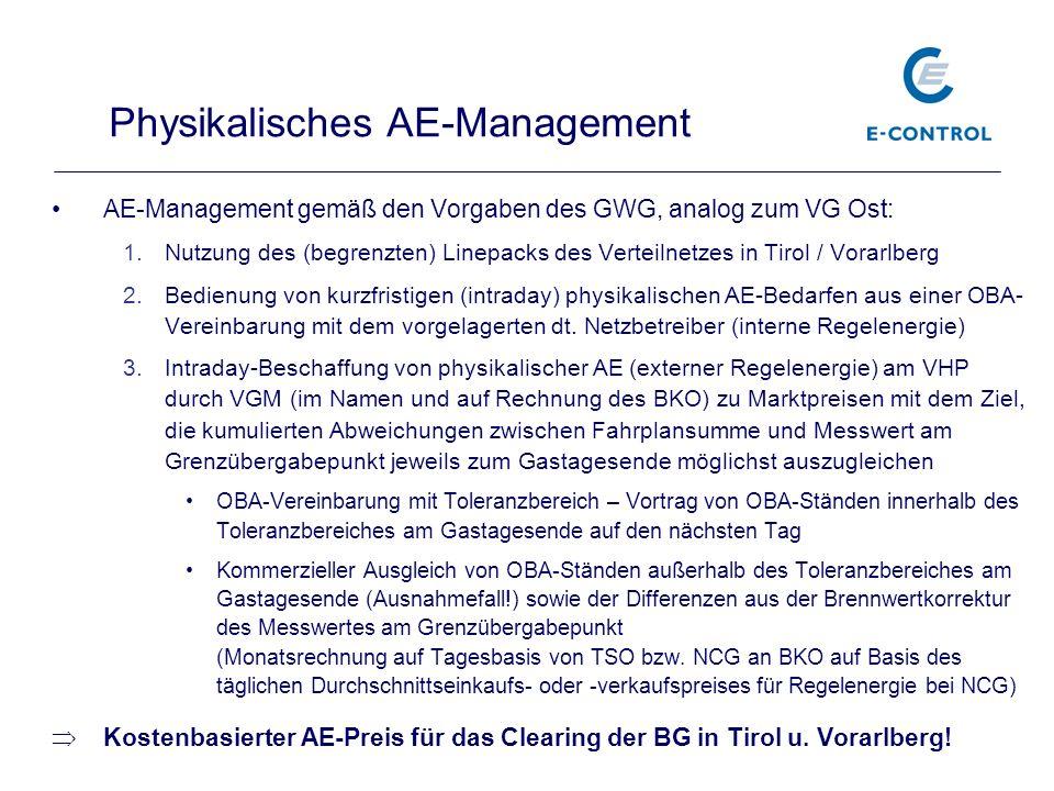 AE-Management gemäß den Vorgaben des GWG, analog zum VG Ost: 1.Nutzung des (begrenzten) Linepacks des Verteilnetzes in Tirol / Vorarlberg 2.Bedienung