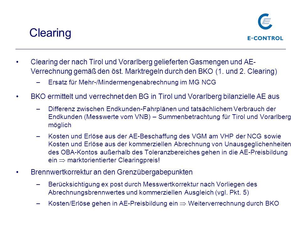 Clearing der nach Tirol und Vorarlberg gelieferten Gasmengen und AE- Verrechnung gemäß den öst. Marktregeln durch den BKO (1. und 2. Clearing) –Ersatz