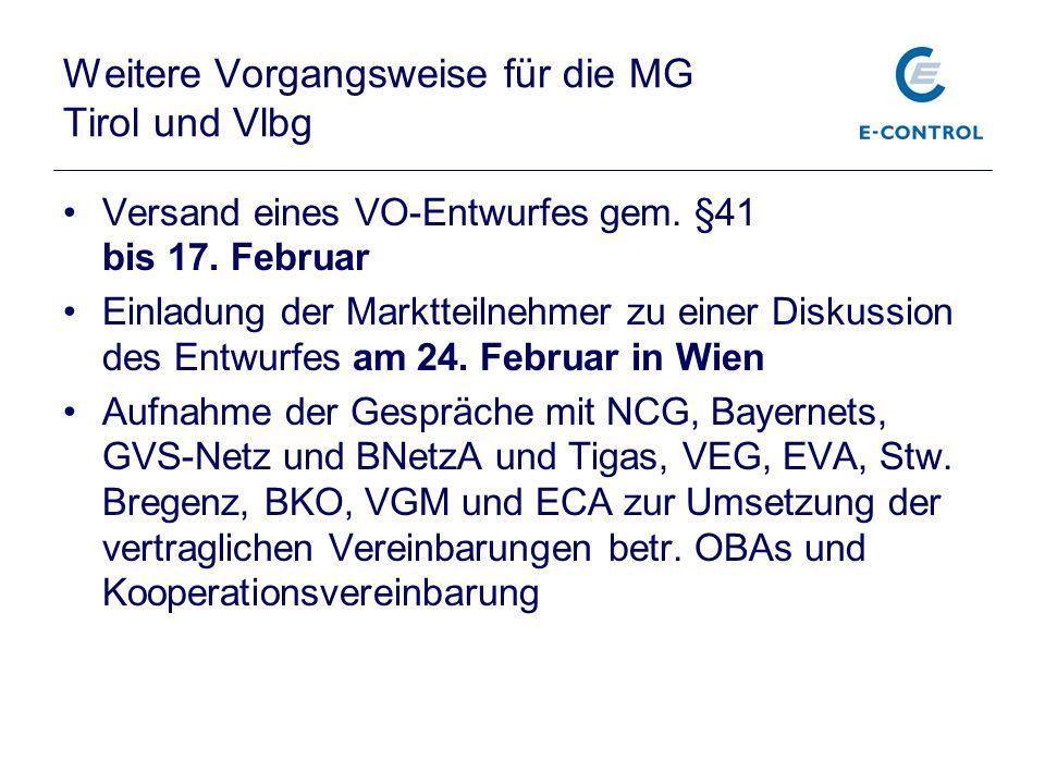 Weitere Vorgangsweise für die MG Tirol und Vlbg Versand eines VO-Entwurfes gem. §41 bis 17. Februar Einladung der Marktteilnehmer zu einer Diskussion