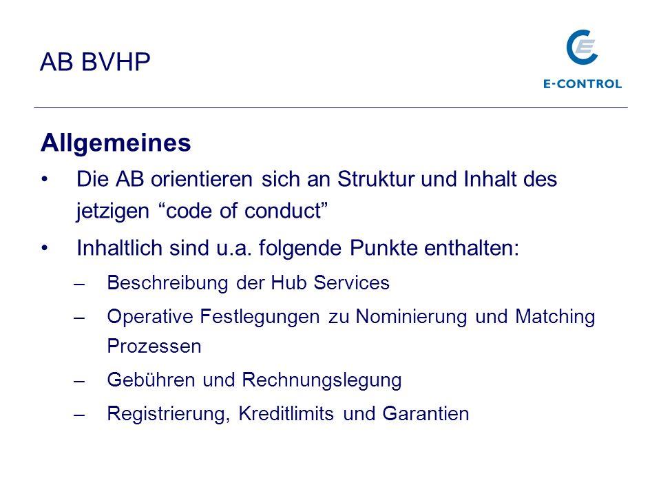 AB BVHP Allgemeines Die AB orientieren sich an Struktur und Inhalt des jetzigen code of conduct Inhaltlich sind u.a. folgende Punkte enthalten: –Besch