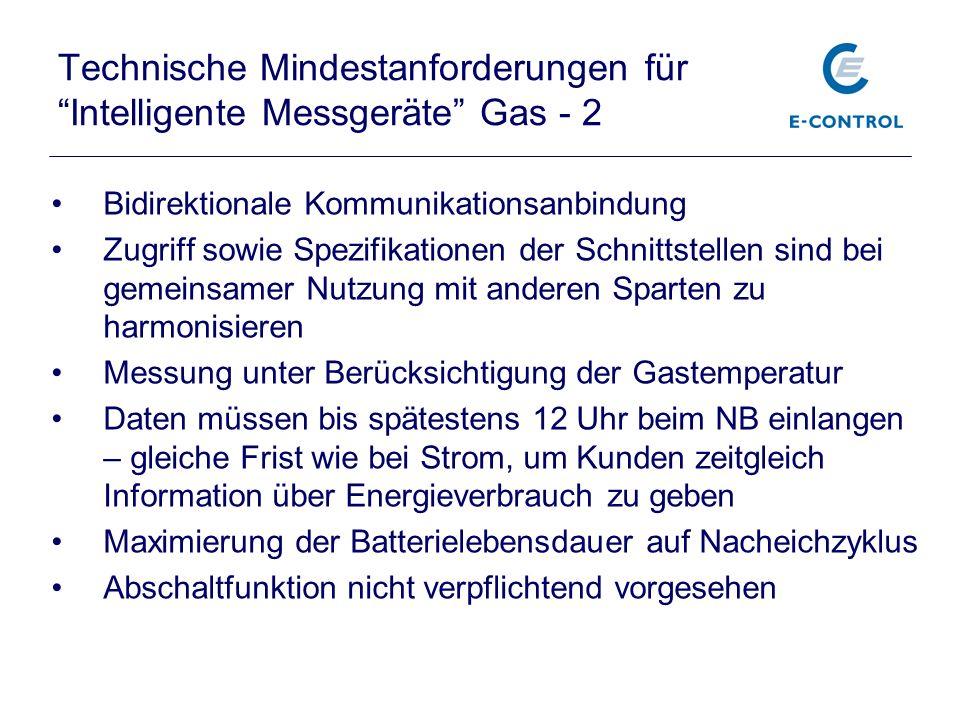 Technische Mindestanforderungen für Intelligente Messgeräte Gas - 2 Bidirektionale Kommunikationsanbindung Zugriff sowie Spezifikationen der Schnittst