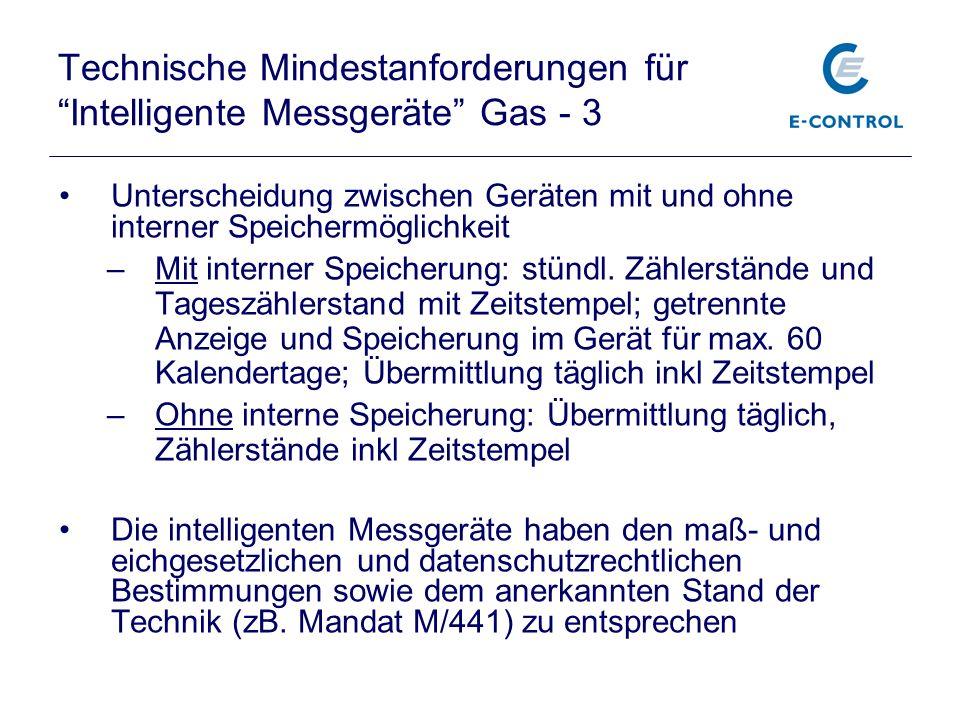 Technische Mindestanforderungen für Intelligente Messgeräte Gas - 3 Unterscheidung zwischen Geräten mit und ohne interner Speichermöglichkeit –Mit int