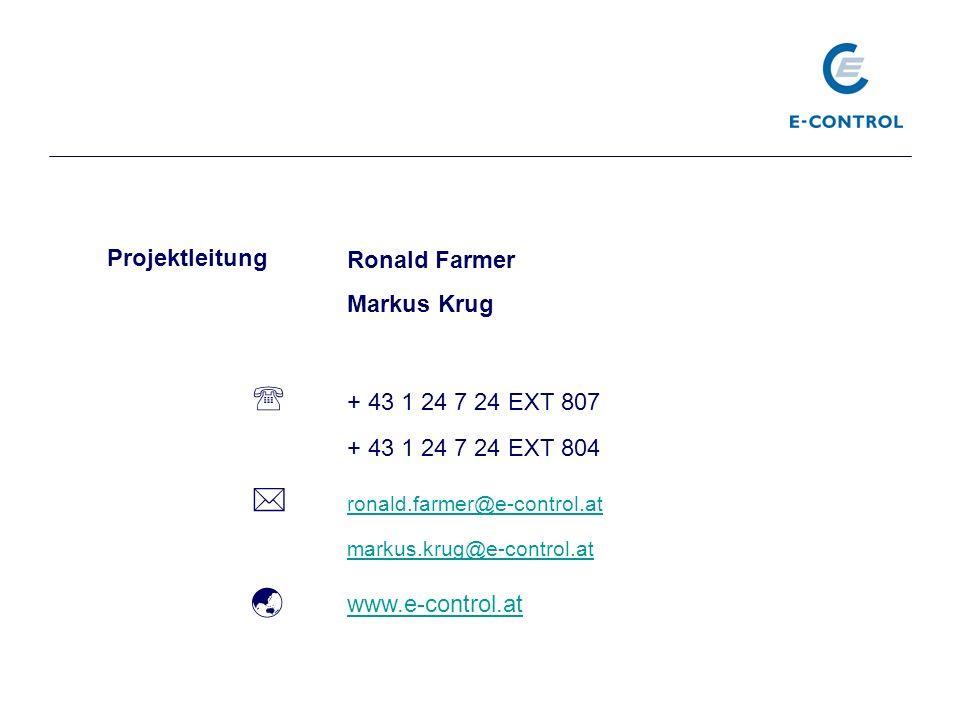 Ronald Farmer Markus Krug + 43 1 24 7 24 EXT 807 + 43 1 24 7 24 EXT 804 ronald.farmer@e-control.at markus.krug@e-control.at www.e-control.at Projektle