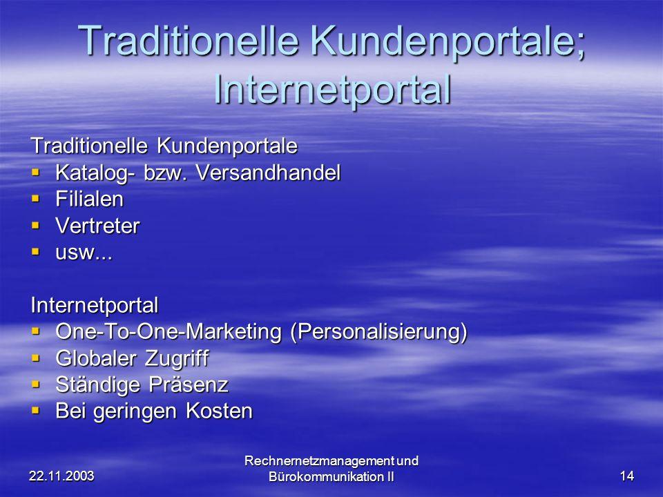 22.11.2003 Rechnernetzmanagement und Bürokommunikation II14 Traditionelle Kundenportale; Internetportal Traditionelle Kundenportale Katalog- bzw. Vers