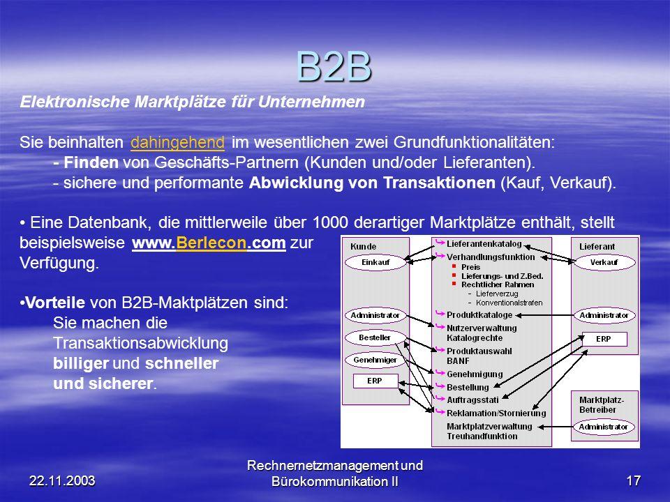 22.11.2003 Rechnernetzmanagement und Bürokommunikation II17 B2B Elektronische Marktplätze für Unternehmen Sie beinhalten dahingehend im wesentlichen z