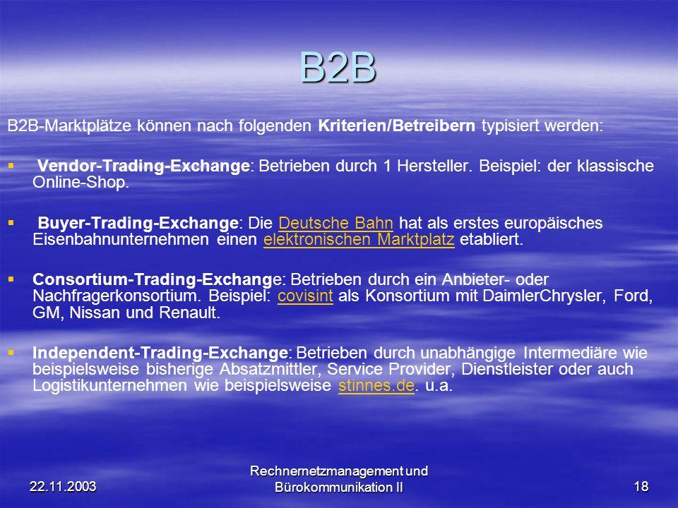 22.11.2003 Rechnernetzmanagement und Bürokommunikation II18 B2B B2B-Marktplätze können nach folgenden Kriterien/Betreibern typisiert werden: Vendor-Tr