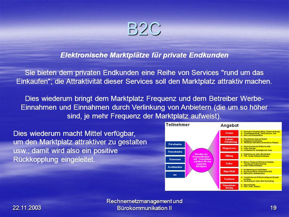 22.11.2003 Rechnernetzmanagement und Bürokommunikation II19 B2C Elektronische Marktplätze für private Endkunden Sie bieten dem privaten Endkunden eine