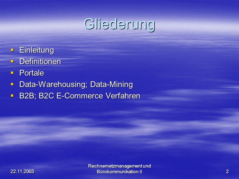 22.11.2003 Rechnernetzmanagement und Bürokommunikation II2 Gliederung Einleitung Einleitung Definitionen Definitionen Portale Portale Data-Warehousing