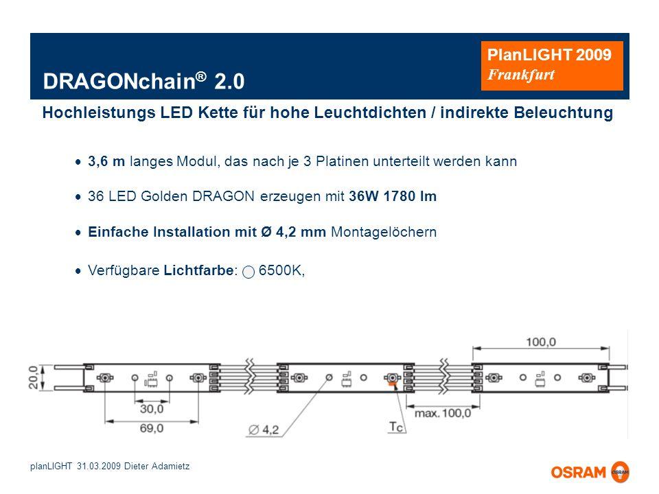 planLIGHT 31.03.2009 Dieter Adamietz PlanLIGHT 2009 Frankfurt DRAGONchain ® 2.0 3,6 m langes Modul, das nach je 3 Platinen unterteilt werden kann 36 L