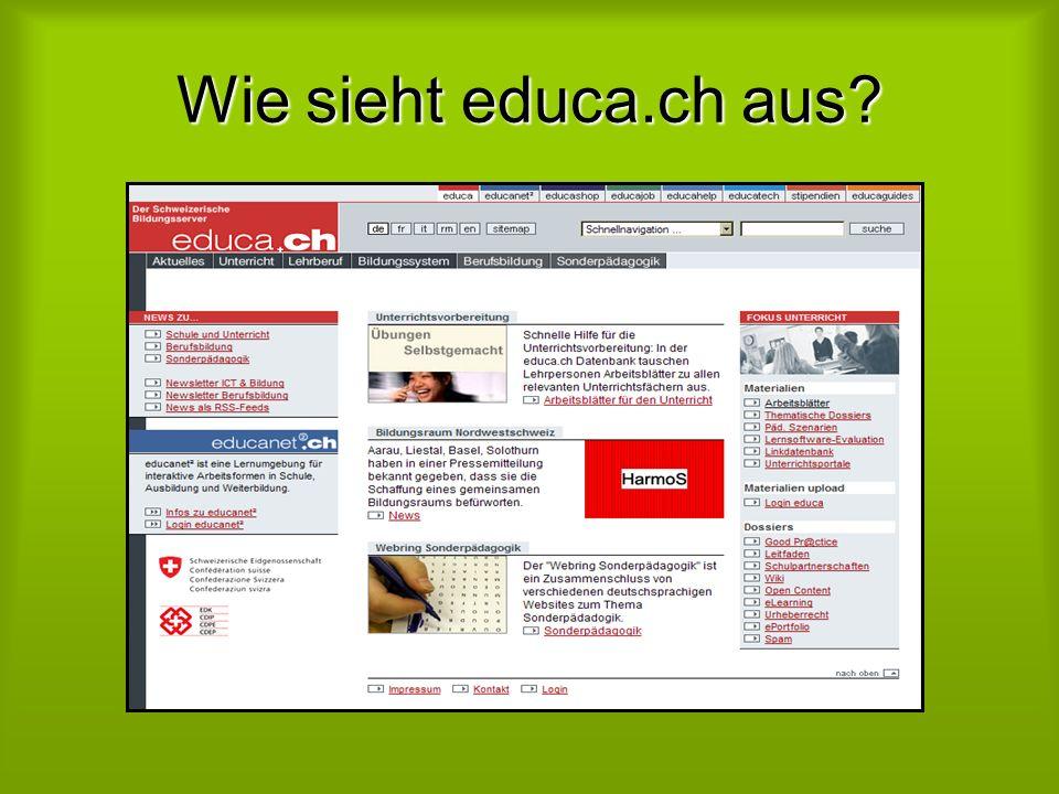 Wie sieht educa.ch aus