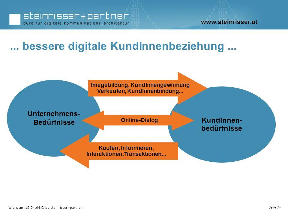 Wien, am 12.04.04 © by steinrisser+partner Seite 13 Unternehmens- Bedürfnisse KundInnen- bedürfnisse Imagebildung, KundInnengewinnung Verkaufen, KundI