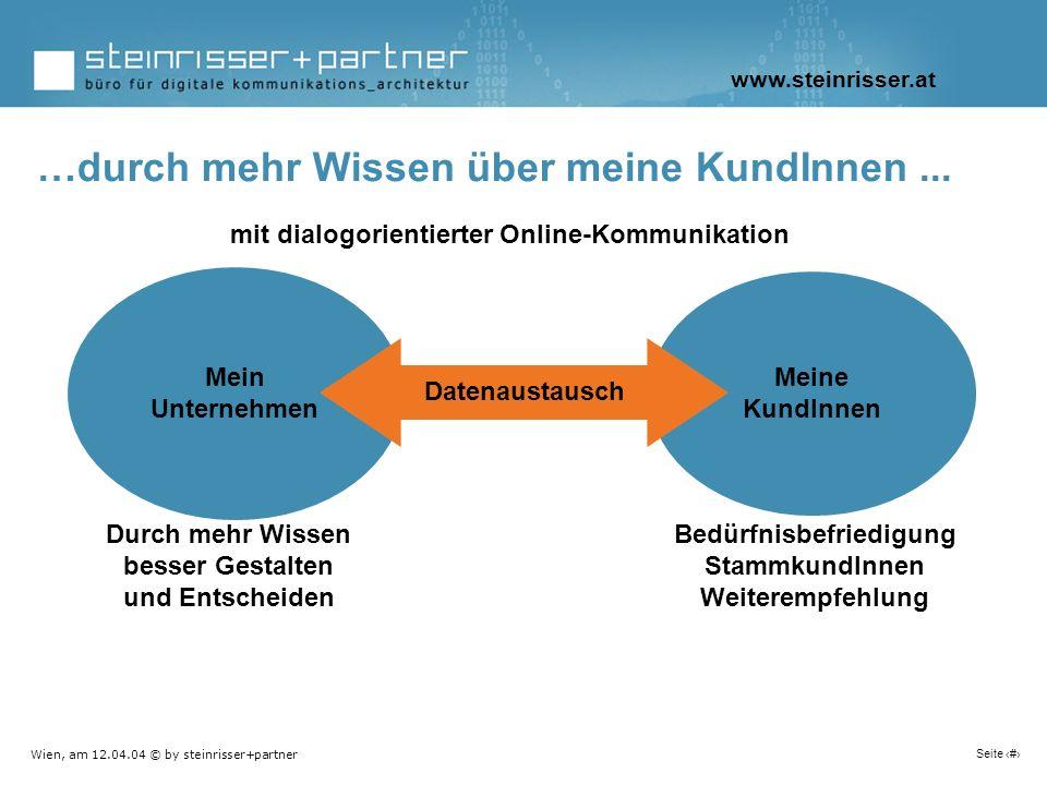Wien, am 12.04.04 © by steinrisser+partner Seite 14 Mein Unternehmen Meine KundInnen Datenaustausch Durch mehr Wissen besser Gestalten und Entscheiden