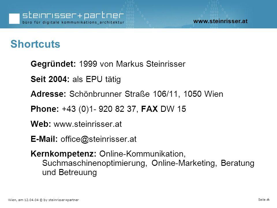 Wien, am 12.04.04 © by steinrisser+partner Seite 4 Gegründet: 1999 von Markus Steinrisser Seit 2004: als EPU tätig Adresse: Schönbrunner Straße 106/11