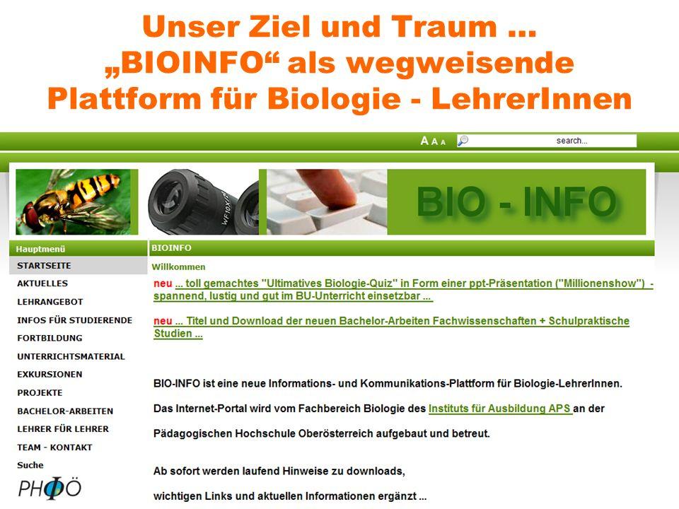 Unser Ziel und Traum … BIOINFO als wegweisende Plattform für Biologie - LehrerInnen