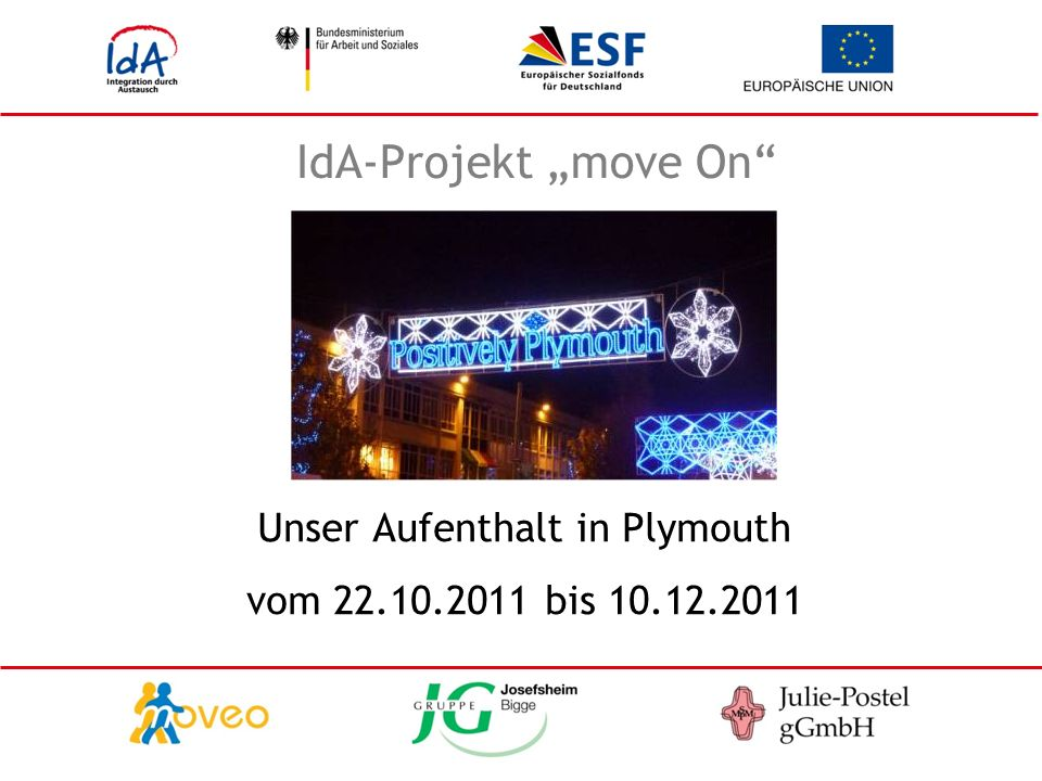 IdA-Projekt move On Unser Aufenthalt in Plymouth vom 22.10.2011 bis 10.12.2011