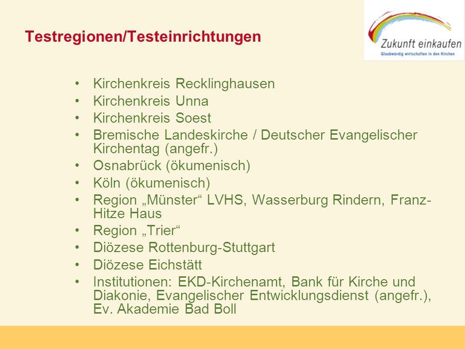 Copyright: Zukunft-Einkaufen 2006 Testregionen/Testeinrichtungen Kirchenkreis Recklinghausen Kirchenkreis Unna Kirchenkreis Soest Bremische Landeskirc