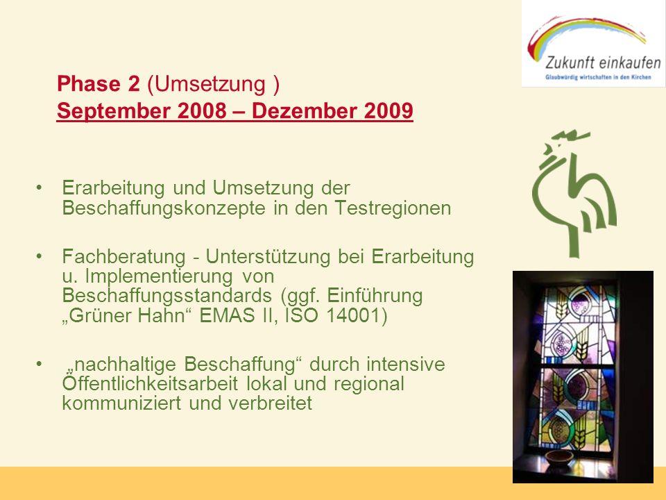 Copyright: Zukunft-Einkaufen 2006 Phase 2 (Umsetzung ) September 2008 – Dezember 2009 Erarbeitung und Umsetzung der Beschaffungskonzepte in den Testre