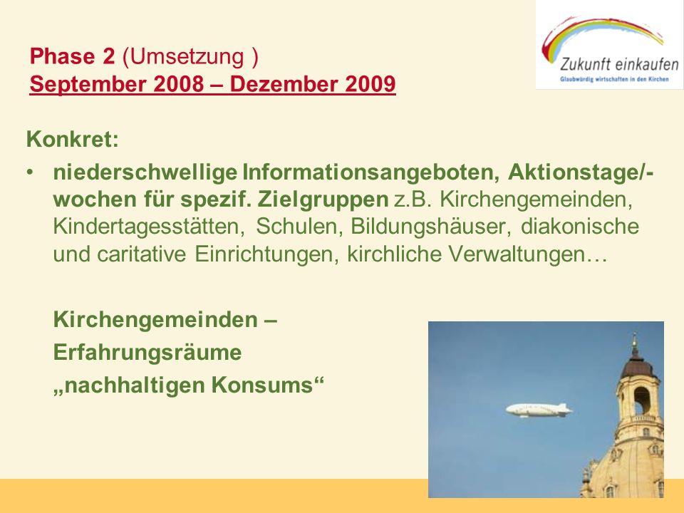 Copyright: Zukunft-Einkaufen 2006 Konkret: niederschwellige Informationsangeboten, Aktionstage/- wochen für spezif. Zielgruppen z.B. Kirchengemeinden,