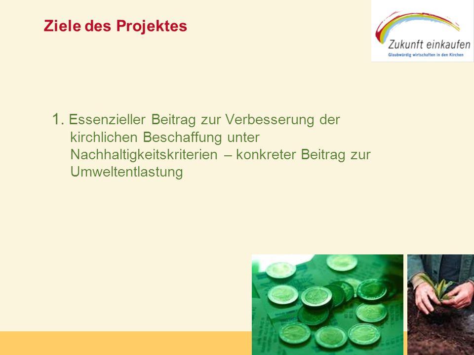 Copyright: Zukunft-Einkaufen 2006 Ziele des Projektes 1. Essenzieller Beitrag zur Verbesserung der kirchlichen Beschaffung unter Nachhaltigkeitskriter