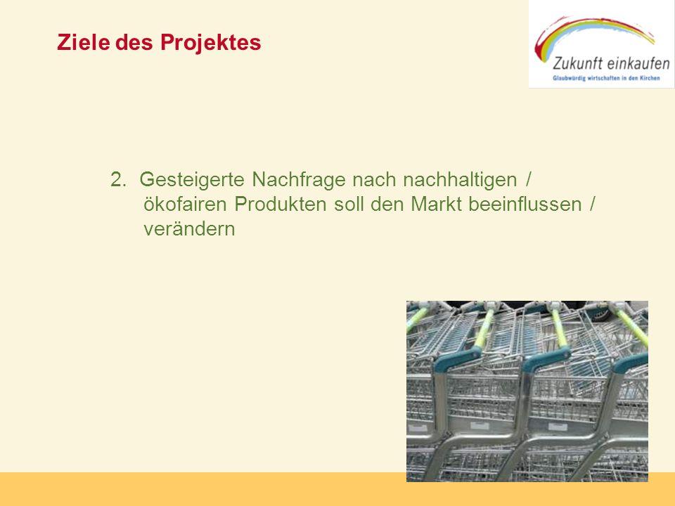 Copyright: Zukunft-Einkaufen 2006 Ziele des Projektes 2. Gesteigerte Nachfrage nach nachhaltigen / ökofairen Produkten soll den Markt beeinflussen / v