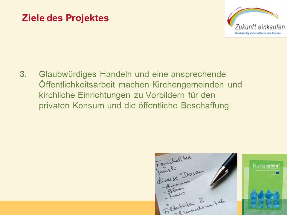 Copyright: Zukunft-Einkaufen 2006 Ziele des Projektes 3. Glaubwürdiges Handeln und eine ansprechende Öffentlichkeitsarbeit machen Kirchengemeinden und