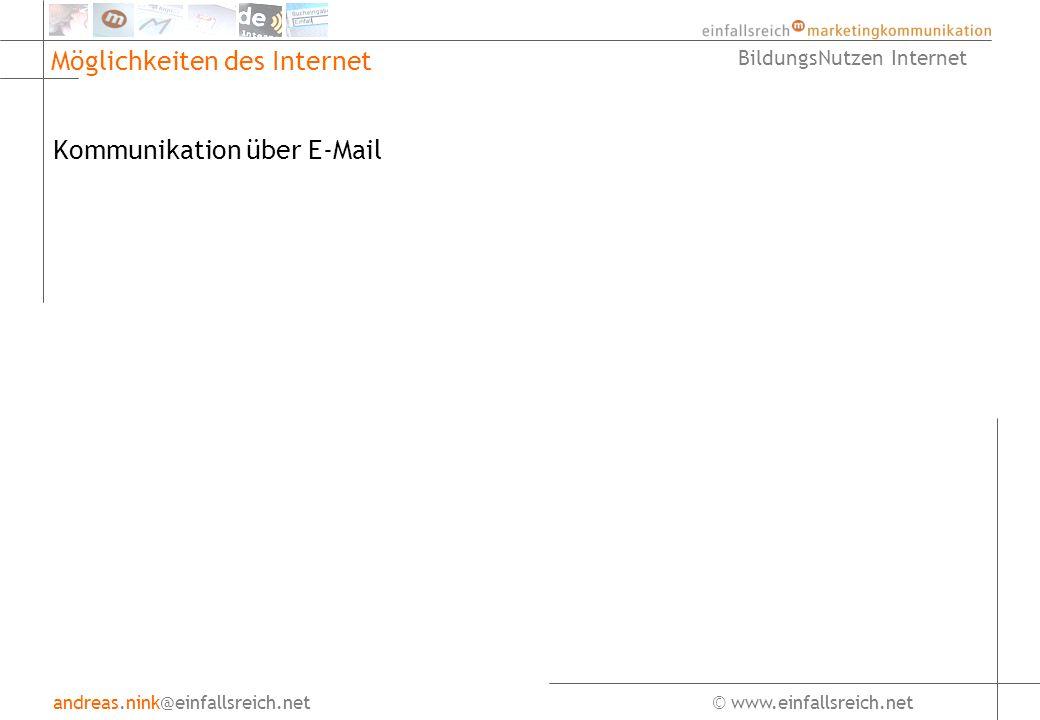 andreas.nink@einfallsreich.net© www.einfallsreich.net BildungsNutzen Internet Möglichkeiten des Internet Kommunikation über E-Mail