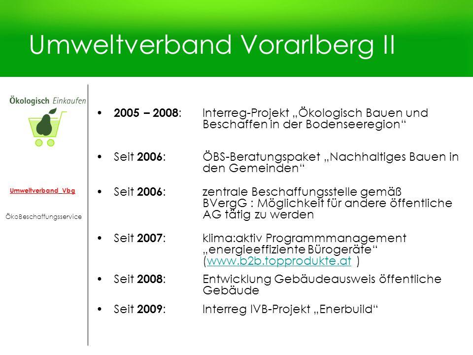 Umweltverband Vorarlberg II 2005 – 2008 :Interreg-Projekt Ökologisch Bauen und Beschaffen in der Bodenseeregion Seit 2006 :ÖBS-Beratungspaket Nachhalt