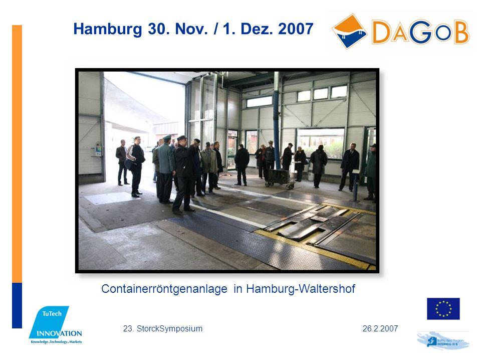 26.2.200723. StorckSymposium Hamburg 30. Nov. / 1. Dez. 2007 Containerröntgenanlage in Hamburg-Waltershof