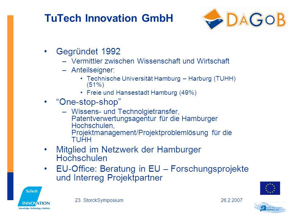 26.2.200723. StorckSymposium TuTech Innovation GmbH Gegründet 1992 –Vermittler zwischen Wissenschaft und Wirtschaft –Anteilseigner: Technische Univers