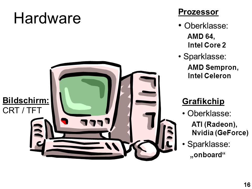 16 Prozessor Oberklasse: AMD 64, Intel Core 2 Sparklasse: AMD Sempron, Intel Celeron Grafikchip Oberklasse: ATI (Radeon), Nvidia (GeForce) Sparklasse: onboard Hardware Bildschirm: CRT / TFT