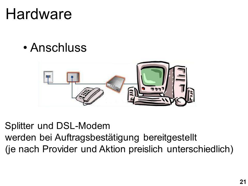 21 Hardware Splitter und DSL-Modem werden bei Auftragsbestätigung bereitgestellt (je nach Provider und Aktion preislich unterschiedlich) Anschluss