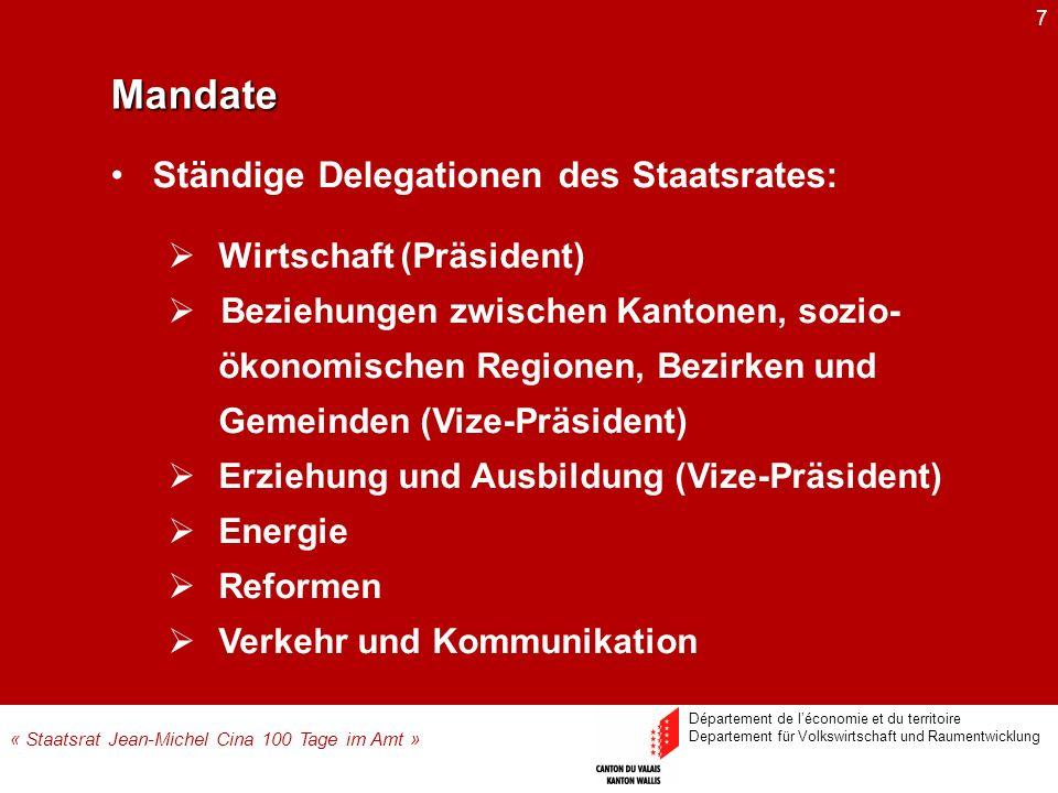 7Mandate Wirtschaft (Präsident) Beziehungen zwischen Kantonen, sozio- ökonomischen Regionen, Bezirken und Gemeinden (Vize-Präsident) Erziehung und Aus