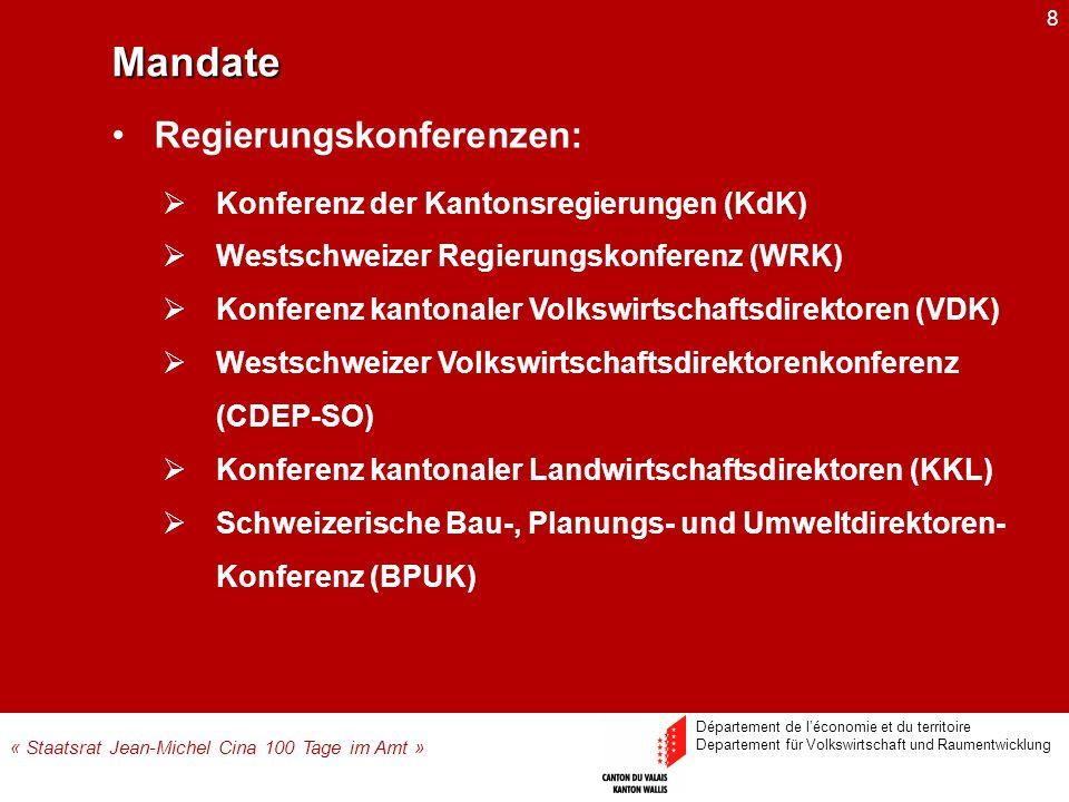 8 Konferenz der Kantonsregierungen (KdK) Westschweizer Regierungskonferenz (WRK) Konferenz kantonaler Volkswirtschaftsdirektoren (VDK) Westschweizer V