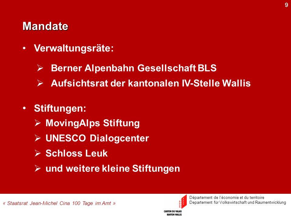 9 Stiftungen: MovingAlps Stiftung UNESCO Dialogcenter Schloss Leuk und weitere kleine Stiftungen Mandate « Staatsrat Jean-Michel Cina 100 Tage im Amt
