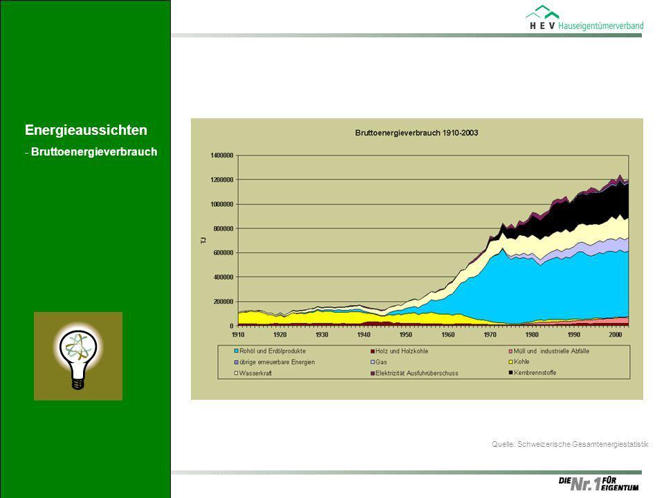 Bruttoverbrauch Download Excel-Datei (158.50 kb) Quelle: Schweizerische Gesamtenergiestatistik Energieaussichten -Bruttoenergieverbrauch