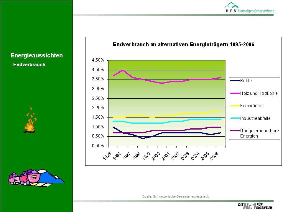 Quelle: Schweizerische Gesamtenergiestatistik Energieaussichten -Endverbrauch