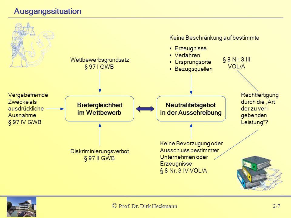 2/7 © Prof. Dr. Dirk Heckmann Ausgangssituation Keine Beschränkung auf bestimmte Erzeugnisse Verfahren Ursprungsorte Bezugsquellen § 8 Nr. 3 III VOL/A