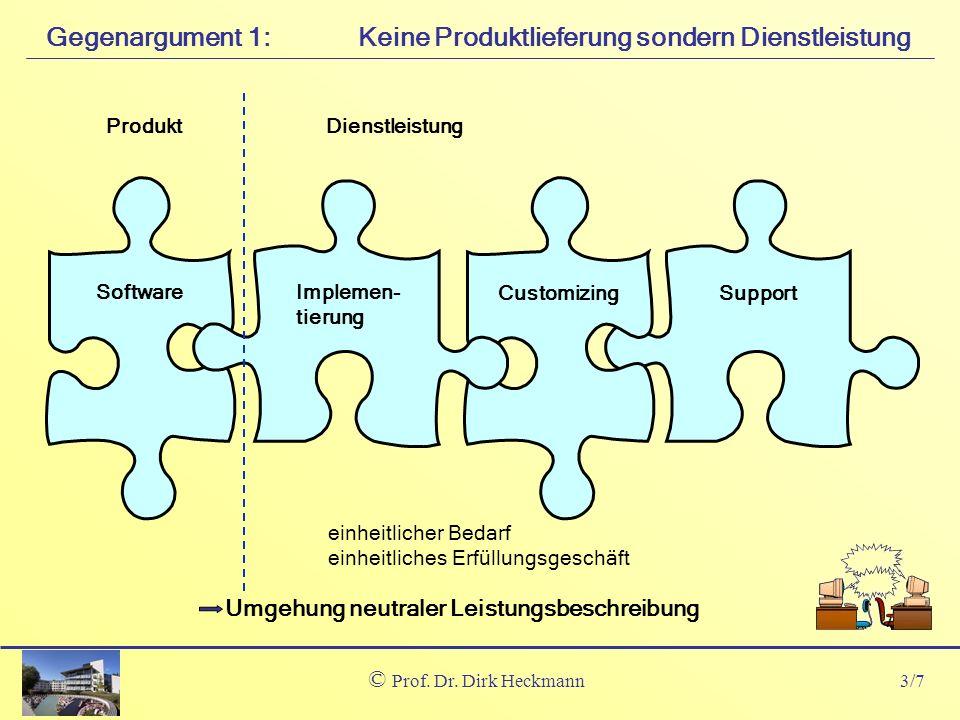 3/7 © Prof. Dr. Dirk Heckmann Keine Produktlieferung sondern DienstleistungGegenargument 1: Software Implemen- tierung Customizing Support Dienstleist