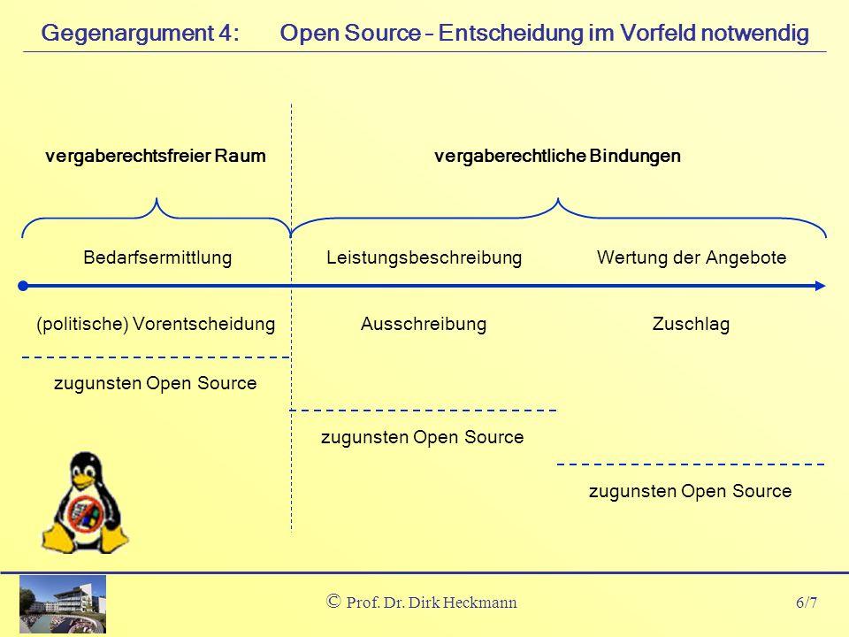 6/7 © Prof. Dr. Dirk Heckmann Open Source – Entscheidung im Vorfeld notwendigGegenargument 4: AusschreibungZuschlag(politische) Vorentscheidung vergab