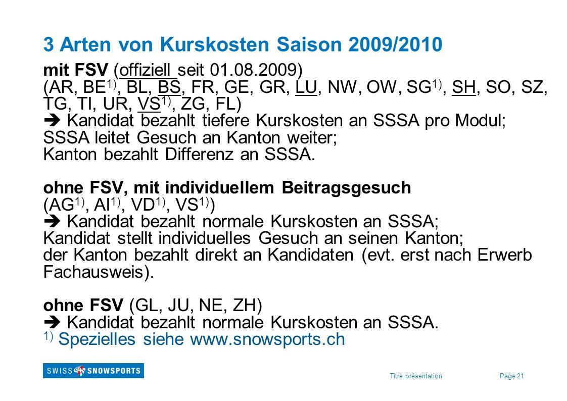 Page 21Titre présentation 3 Arten von Kurskosten Saison 2009/2010 mit FSV (offiziell seit 01.08.2009) (AR, BE 1), BL, BS, FR, GE, GR, LU, NW, OW, SG 1