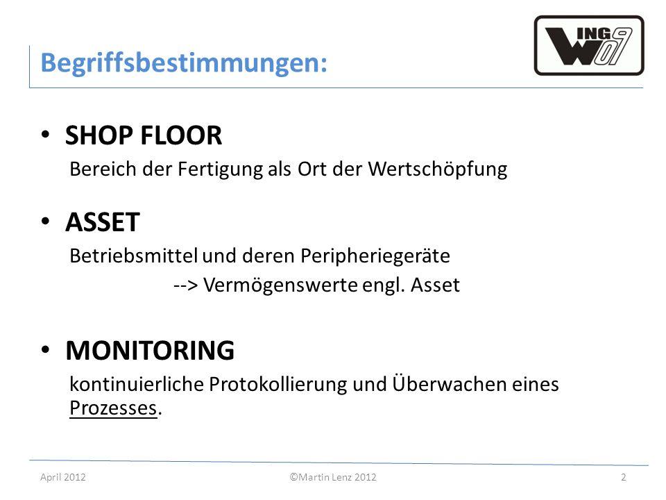 April 2012©Martin Lenz 20122 Begriffsbestimmungen: SHOP FLOOR Bereich der Fertigung als Ort der Wertschöpfung ASSET Betriebsmittel und deren Peripheri
