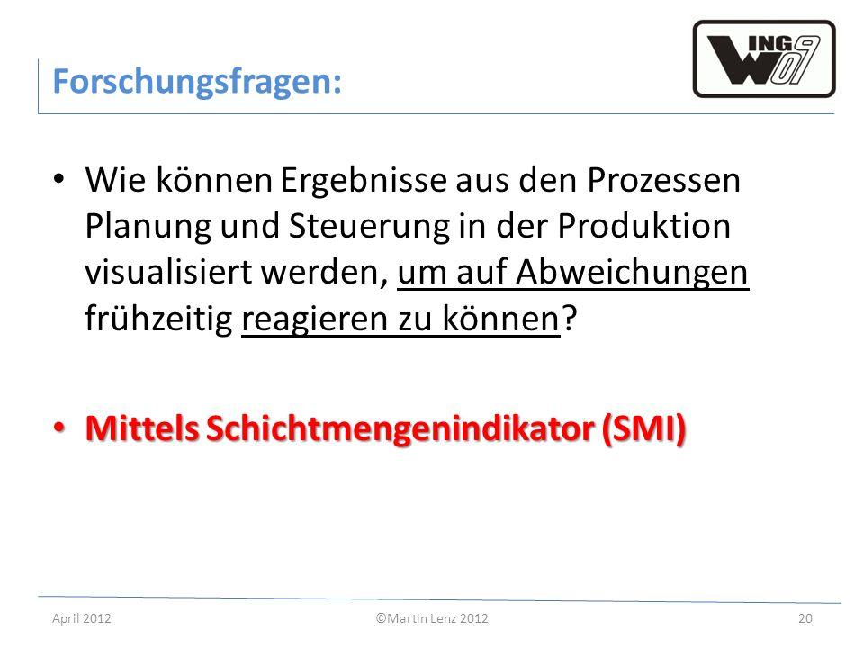 April 2012©Martin Lenz 201220 Forschungsfragen: Wie können Ergebnisse aus den Prozessen Planung und Steuerung in der Produktion visualisiert werden, u