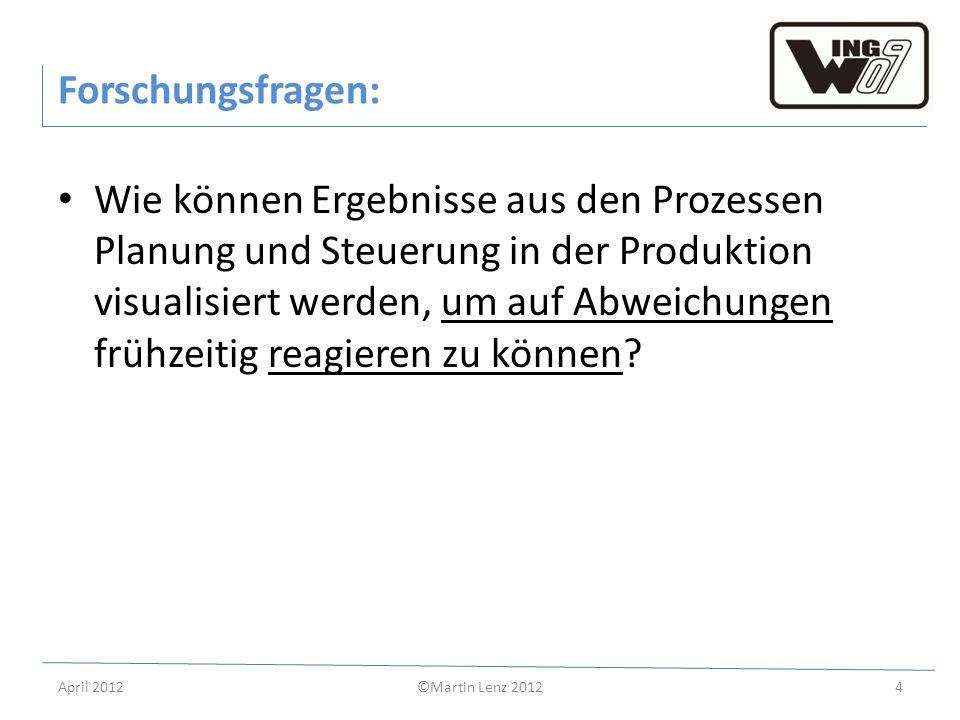 April 2012©Martin Lenz 20124 Forschungsfragen: Wie können Ergebnisse aus den Prozessen Planung und Steuerung in der Produktion visualisiert werden, um