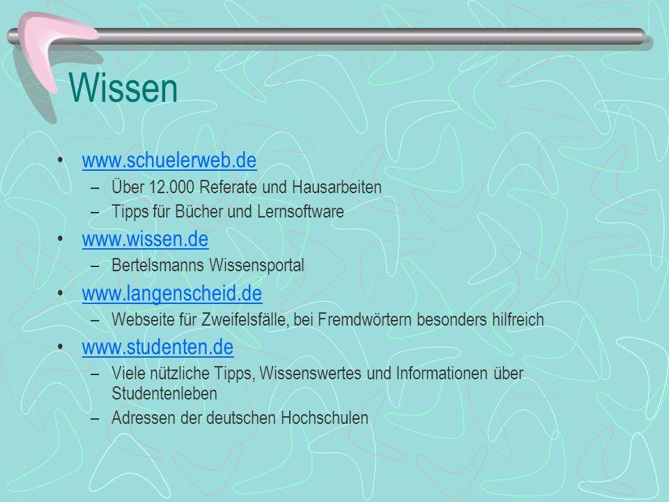 Wissen www.schuelerweb.de –Über 12.000 Referate und Hausarbeiten –Tipps für Bücher und Lernsoftware www.wissen.de –Bertelsmanns Wissensportal www.lang