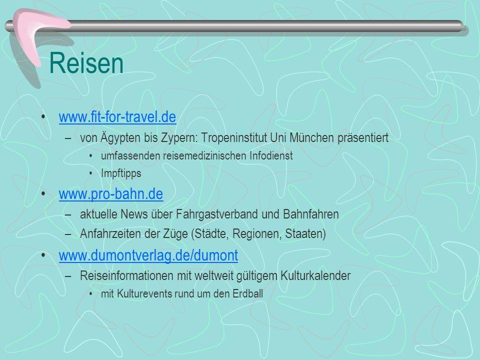 Reisen www.fit-for-travel.de –von Ägypten bis Zypern: Tropeninstitut Uni München präsentiert umfassenden reisemedizinischen Infodienst Impftipps www.p
